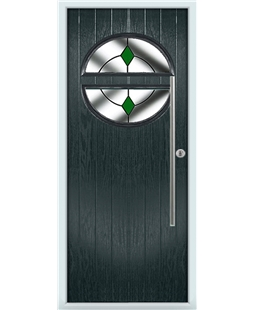 The Xenia Composite Door in Grey (Anthracite) with Green Diamonds