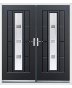 Vermont French Rockdoor in Anthracite Grey with Grey Shades
