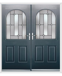 Kentucky French Rockdoor in Anthracite Grey with Linear