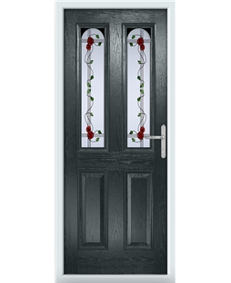 The Aberdeen Composite Door in Grey (Anthracite) with Mackintosh Rose