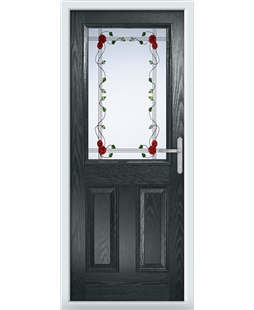 The Farnborough Composite Door in Grey (Anthracite) with Mackintosh Rose