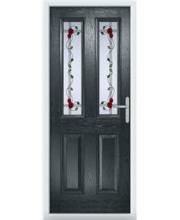 The Cardiff Composite Door in Grey (Anthracite) with Mackintosh Rose