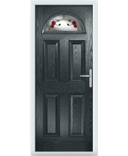 The Derby Composite Door in Grey (Anthracite) with Mackintosh Rose