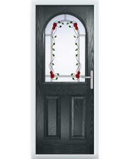 The Edinburgh Composite Door in Grey (Anthracite) with Mackintosh Rose