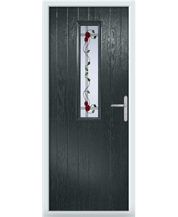 The Sheffield Composite Door in Grey (Anthracite) with Mackintosh Rose