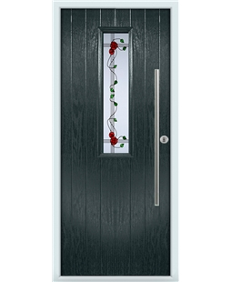 The York Composite Door in Grey (Anthracite) with Mackintosh Rose
