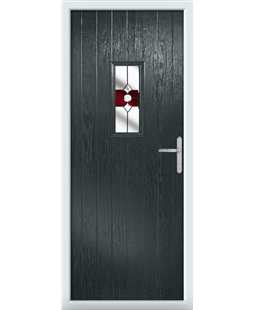 The Taunton Composite Door in Grey (Anthracite) with Red Crystal Bohemia
