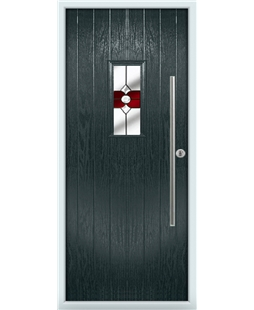 The Zetland Composite Door in Grey (Anthracite) with Red Crystal Bohemia