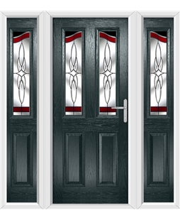 The Birmingham Composite Door in Grey (Anthracite) with Red Crystal Harmony and matching Side Panels