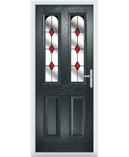 The Aberdeen Composite Door in Grey (Anthracite) with Red Diamonds