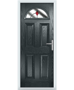 The Derby Composite Door in Grey (Anthracite) with Red Diamonds