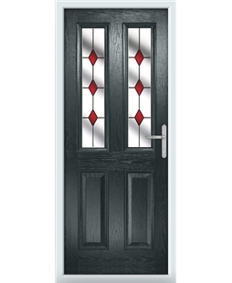 The Cardiff Composite Door in Grey (Anthracite) with Red Diamonds