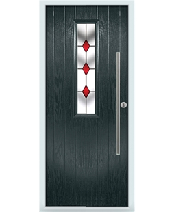 The York Composite Door in Grey (Anthracite) with Red Diamonds