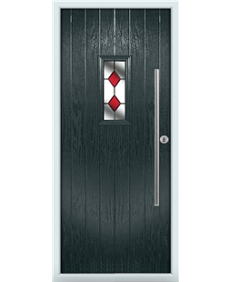 The Zetland Composite Door in Grey (Anthracite) with Red Diamonds