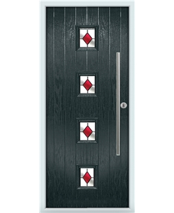The Leicester Composite Door in Grey (Anthracite) with Red Diamonds