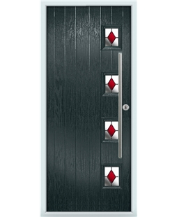 The Norwich Composite Door in Grey (Anthracite) with Red Diamonds