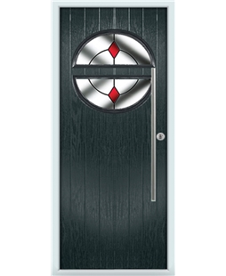 The Xenia Composite Door in Grey (Anthracite) with Red Diamonds
