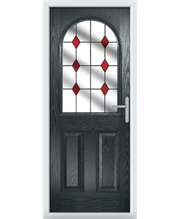 The Edinburgh Composite Door in Grey (Anthracite) with Red Diamonds
