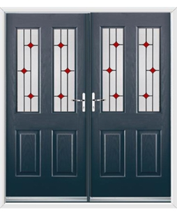 Jacobean French Rockdoor in Anthracite Grey with Red Diamonds