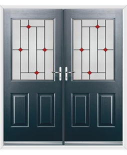 Windsor French Rockdoor in Anthracite Grey with Red Diamonds