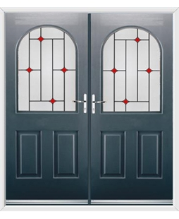 Kentucky French Rockdoor in Anthracite Grey with Red Diamonds