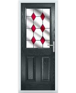 The Farnborough Composite Door in Grey (Anthracite) with Red Diamonds