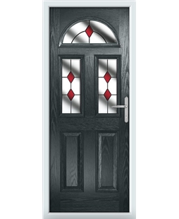 The Glasgow Composite Door in Grey (Anthracite) with Red Diamonds