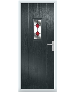 The Taunton Composite Door in Grey (Anthracite) with Red Diamonds