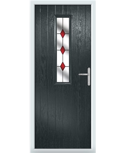 The Sheffield Composite Door in Grey (Anthracite) with Red Diamonds