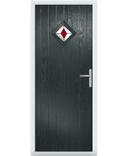 The Reading Composite Door in Grey (Anthracite) with Red Diamonds