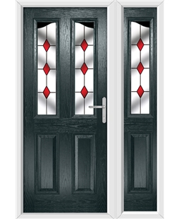 The Birmingham Composite Door in Grey (Anthracite) with Red Diamonds and matching Side Panel