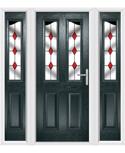 The Birmingham Composite Door in Grey (Anthracite) with Red Diamond and matching Side Panels