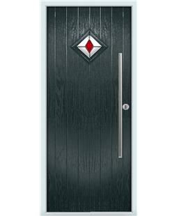 The Wolverhampton Composite Door in Grey (Anthracite) with Red Diamond