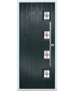 The Norwich Composite Door in Grey (Anthracite) with Red Fusion Ellipse