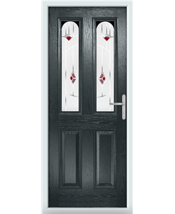 The Aberdeen Composite Door in Grey (Anthracite) with Red Murano