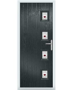 The Preston Composite Door in Grey (Anthracite) with Red Murano