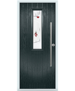 The York Composite Door in Grey (Anthracite) with Red Murano
