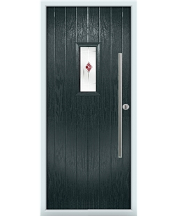 The Zetland Composite Door in Grey (Anthracite) with Red Murano