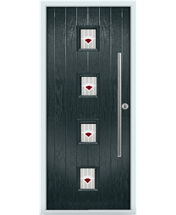 The Leicester Composite Door in Grey (Anthracite) with Red Murano