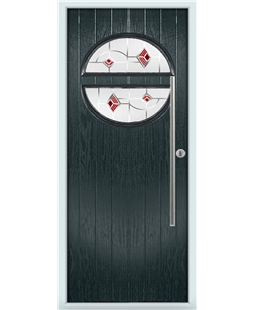 The Xenia Composite Door in Grey (Anthracite) with Red Murano
