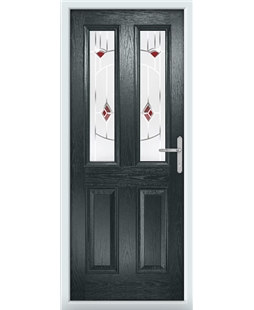 The Cardiff Composite Door in Grey (Anthracite) with Red Murano