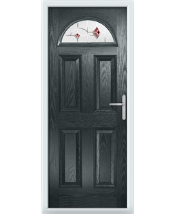 The Derby Composite Door in Grey (Anthracite) with Red Murano