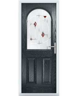 The Edinburgh Composite Door in Grey (Anthracite) with Red Murano