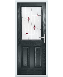 The Farnborough Composite Door in Grey (Anthracite) with Red Murano