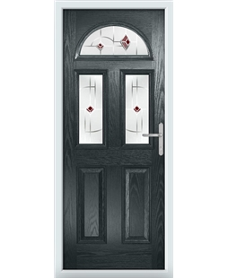 The Glasgow Composite Door in Grey (Anthracite) with Red Murano