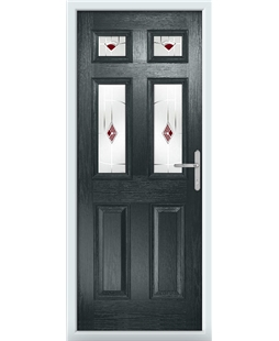 The Oxford Composite Door in Grey (Anthracite) with Red Murano
