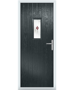 The Taunton Composite Door in Grey (Anthracite) with Red Murano