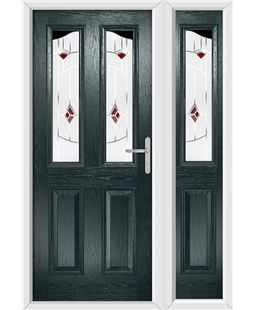 The Birmingham Composite Door in Grey (Anthracite) with Red Murano and matching Side Panel