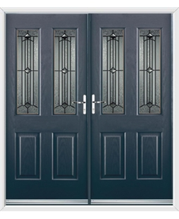 Jacobean French Rockdoor in Anthracite Grey with Scorpio