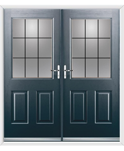 Windsor French Rockdoor in Anthracite Grey with Square Lead